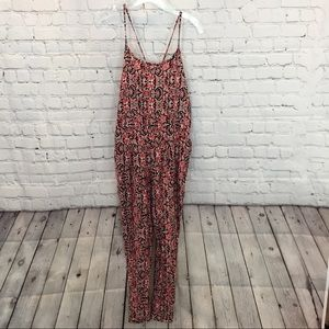 Ambiance Apparel Red Black Floral Pattern Jumpsuit